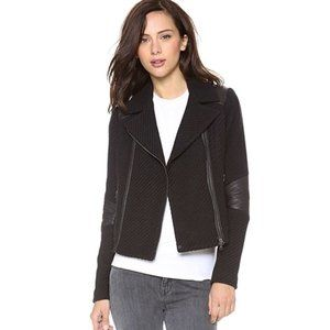 VINCE Lamb Leather Trim Boucle Tweed Moto Jacket